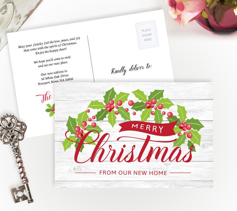 Christmas change of address postcards Holiday moving | Etsy