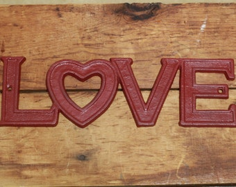 Love Metal Hand Painted Sign, Valentines Day Gift, Deep Cherry Love sign,