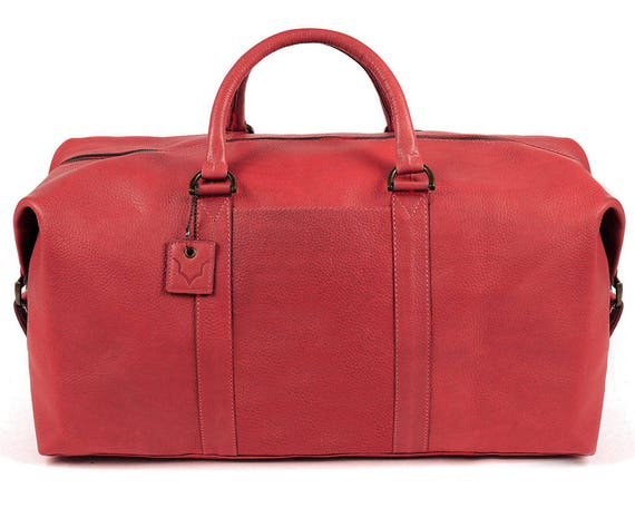 Limited Edition Wild Red Real Leather Duffle   Duffel Bag   Etsy f94b33df65