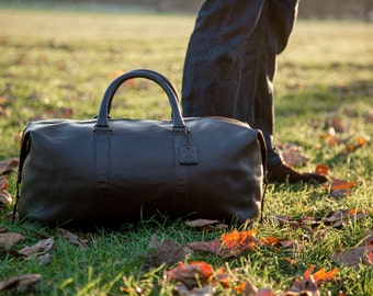 FOX ARCHER - Classic Black - Real Leather Duffle / Duffel Bag by Fox Archer - Leather Duffle Weekend Holdall Bag