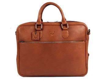 Fox Archer Briefcase - Caramel Tan Briefcase / Messenger / Laptop Bag