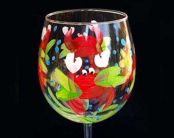 Chesapeake Bay Crab Glasses - handpainted