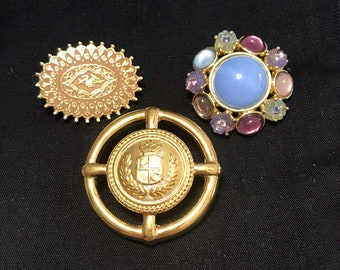 3fc5c2e0d Vintage Lot of 3 Pin Brooches One Signed Liz Claiborne, Rhinestones, Enamel