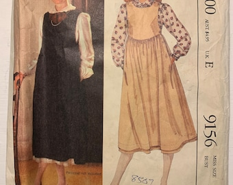 Vintage 1980s McCall's 3223 Laura Ashley Pullover Jumper Dress and Blouse Sewing Pattern Size 14 UNCUT FF