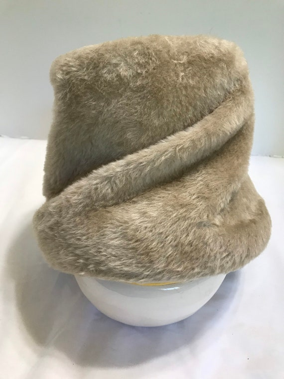 Vintage Faux Fur Hat Made in Italy Bucket Style fo