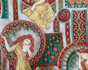 """F856 Age of Elegance Cotton Fabric Voluptuous Women Fabric Freedom London England Quilt Quality 2 Yards 44"""" Wide"""