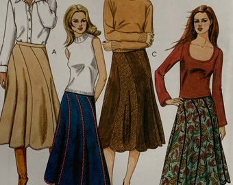 McCall's 4161 Flared Skirt Sewing Pattern Loose Fitting Scalloped Hemline 4 Styles 3 Pc Pattern Sizes 8-10-12-14 UNCUT FF