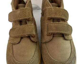 Vintage Boys Toddler Work Boots Kids Shoes Size 7 Youth Canvas Suede Korea 1980s