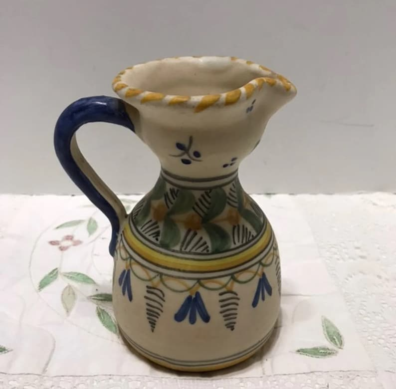 Vintage Mave Talavera  Pitcher Hand Painted Colorful Ceramic Mexican Pottery