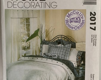 Vintage McCall's 2017 Reversible Duvet Bed Skirt Window Curtains Valance Pillows and Pillow Shams Sewing Pattern Home Decor 1990s UNCUT FF