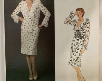 Vintage Vogue 2621 Nina Ricci Paris Womens Misses Jacket Blouse Skirt & Belt Sewing Pattern Size 14 1980s Designer UNCUT FF