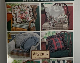 Butterick 6097 Pillows Sewing Pattern 8 Decorator Styles Home Decor Pillows Heart Square Rectangle Neck Roll Ruffled UNCUT FF