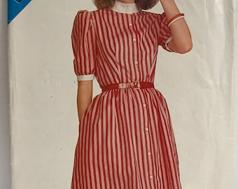 Vintage 1980s Butterick See & Sew ShirtDress Sewing Pattern Tuxedo Style Standing Collar Semi-Fitted Flared Sizes 6 8 10 UNCUT FF