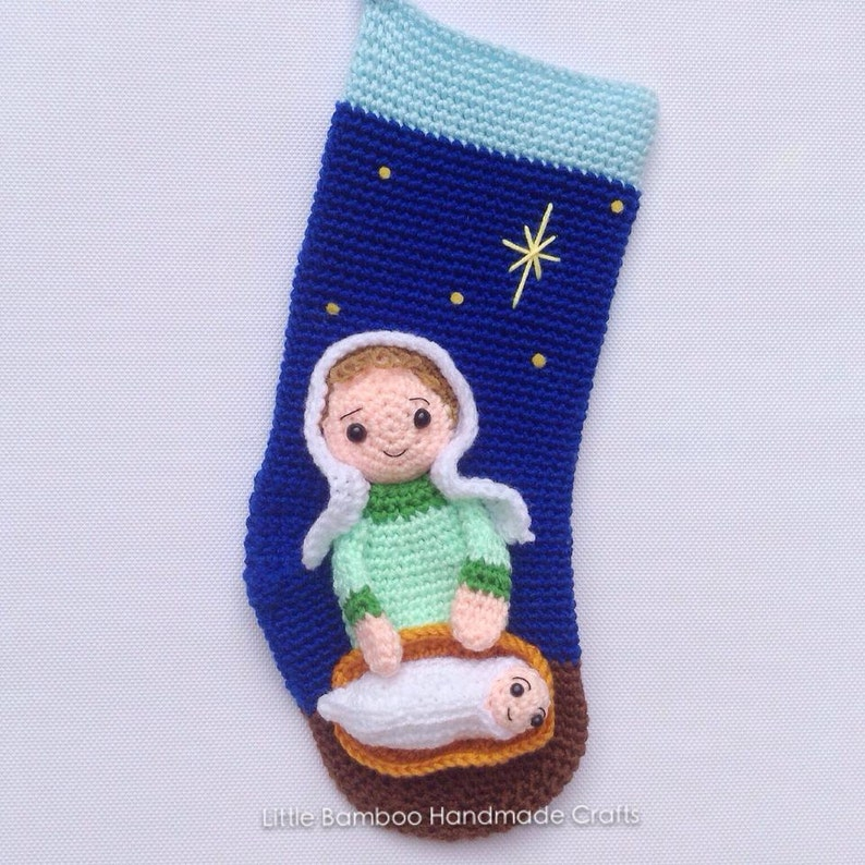 Nativity Christmas Stocking Crochet Pattern