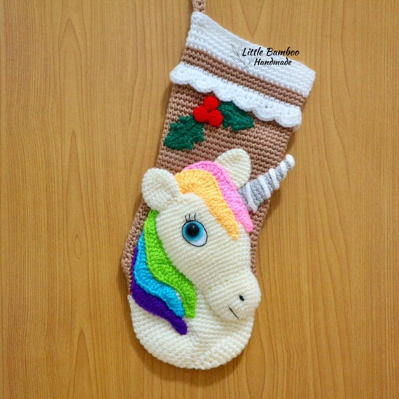 Pattern Unicorn Christmas Stocking Crochet Pattern Pdf Etsy