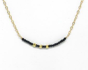 Dainty Rocker: Delicate Black Spinel and Gold Nugget Necklace