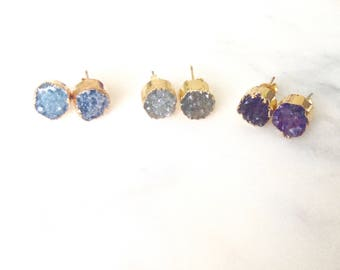 Fae Gold Plated Druse Earrings