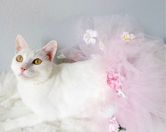 Pink cat etsy flower cat tutu floral pink cat tutu cat supplies cat apparel mightylinksfo