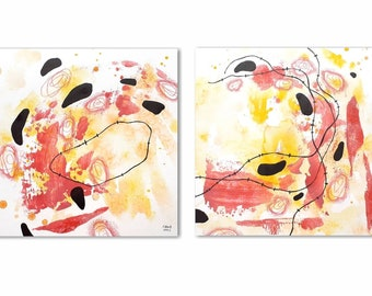 Set of two square format paintings. Original abstract art on archival paper. Red and yellow art set.
