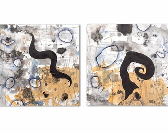Original abstract art set of two square format paintings. Blue and black with beige.