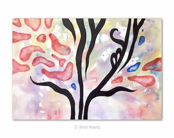 Original painting on archival paper. Abstract tree themed composition. Watercolor wall art.