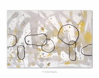 Abstract painting - gray and yellow brush drawing. Original artwork.