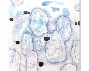 Original abstract art in blue tones. Square format watercolor painting.