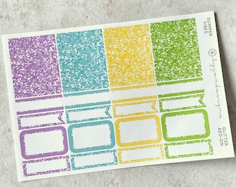 Summer Vibes - GLITTER Add-on, Glitter Stickers Add On Kit, for Standard Vertical Planners