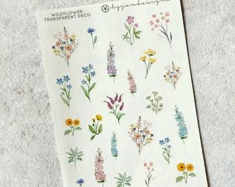 CLEAR DECO Wildflower - Mini Quarter Sheet, Deco Sticker Overlay Add on, Decorative Planner Stickers, Deco Planner Stickers, Bullet Journal