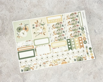Harvest - ONE PAGE Weekly Sticker Add On Kit, Floral Weekly Sticker Kit for Standard Vertical Planners