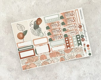 Terracotta - ONE PAGE Weekly Sticker Add On Kit, Minimal Abstract Sticker Kit for Standard Vertical Planners