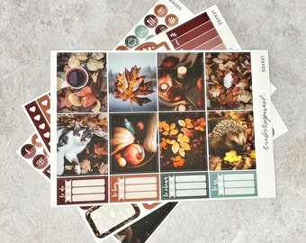 Leaves - MINI Weekly Photo Sticker Kit, Fall Autumn Weekly Planner Sticker Kit, for Standard Vertical Planners   *PREMIUM MATTE*