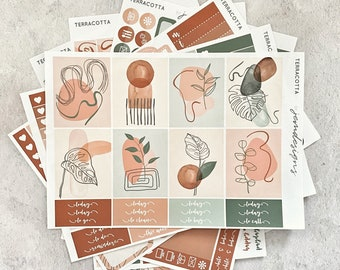 Terracotta - DELUXE Weekly Sticker Kit, Minimal Abstract Planner Stickers, No White Space Planner Sticker Kit, for Standard Vertical Planner