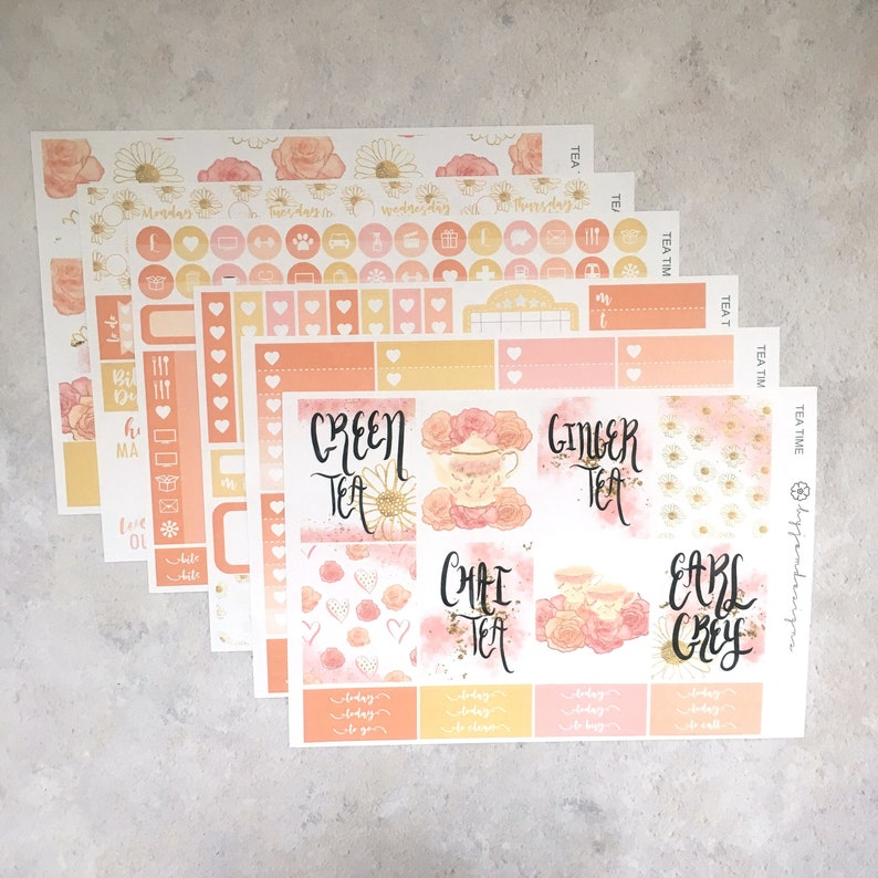 Tea Time  DELUXE Weekly Sticker Kit Planner Stickers No image 0
