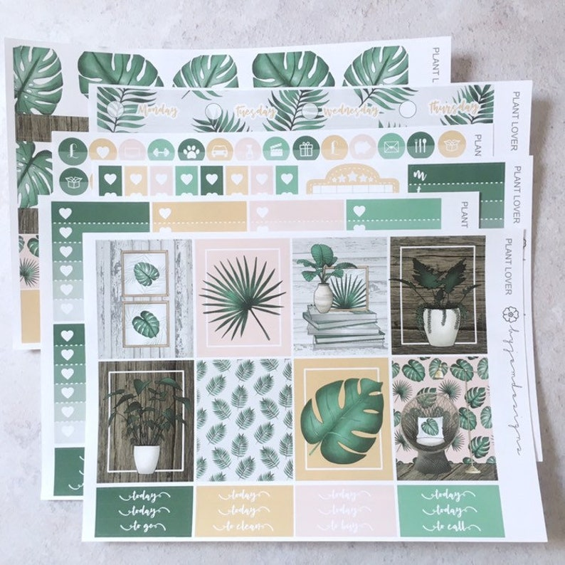 Plant Lover  DELUXE Weekly Sticker Kit Planner Stickers No image 0
