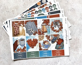 Cozy Up - DELUXE Weekly Sticker Kit, Fall Weekly Planner Stickers, No White Space Planner Sticker Kit, for Standard Vertical Planner