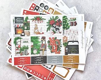Jingle - DELUXE Weekly Sticker Kit, Christmas Weekly Planner Stickers, No White Space Planner Sticker Kit, for Standard Vertical Planner