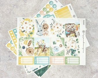 Picnic - MINI Weekly Sticker Kit, Floral Weekly Planner Sticker Kit, for Standard Vertical Planners