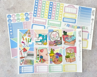 Arts & Crafts - MINI Weekly Sticker Kit, Floral Weekly Planner Sticker Kit, for Standard Vertical Planners
