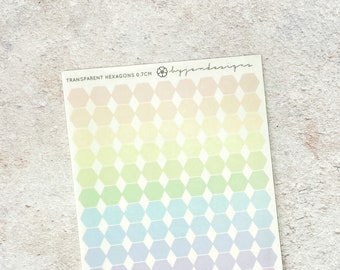 CLEAR Hexagons (0.7cm) - Pastel Rainbow Stickers, Mini Sheet, Functional Planner Stickers, Weekly Planner Stickers, BuJo Stickers (C042)