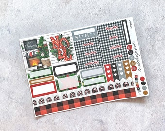 Jingle - ONE PAGE Weekly Sticker Add On Kit, Christmas Weekly Sticker Kit for Standard Vertical Planners