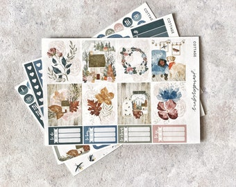Cottage - MINI Weekly Sticker Kit, Floral Weekly Planner Sticker Kit, for Standard Vertical Planners