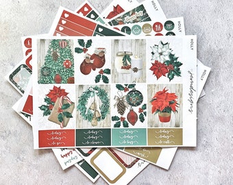 Holly - DELUXE Weekly Sticker Kit, Christmas Weekly Planner Stickers, No White Space Planner Sticker Kit, for Standard Vertical Planner