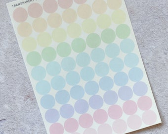 CLEAR Dots (1cm) - Pastel Rainbow Stickers, Mini Sheet, Functional Planner Stickers, Weekly Planner Stickers, Bullet Journal Stickers (C008)
