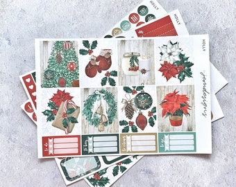 Holly - MINI Weekly Sticker Kit, Christmas Weekly Planner Sticker Kit, for Standard Vertical Planners