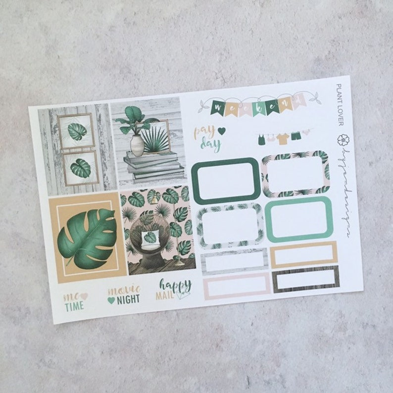 Plant Lover  ONE PAGE Weekly Sticker Add On Kit for use with image 0