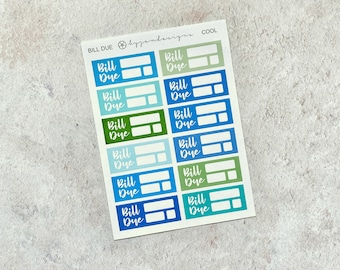 Final Sale | Cool Bill Due - Mini Sheet, Functional Stickers, Multicolour Bill Stickers, Blue, Green, for Standard Vertical Planners
