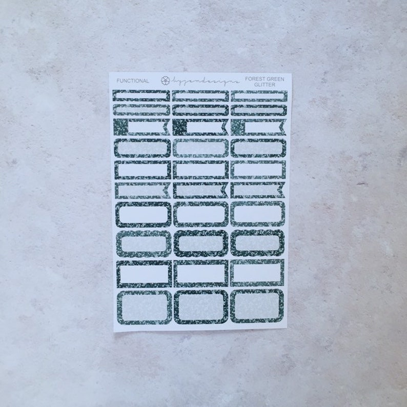 Forest Green Glitter Functional Box Stickers Planner image 0