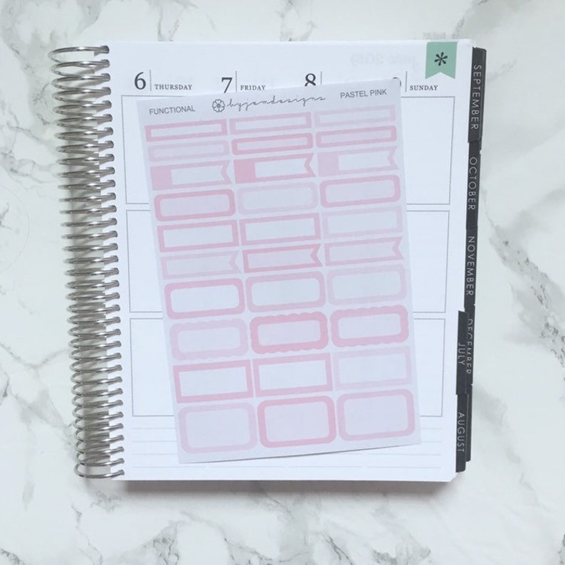 Pastel Pink Functional Box Stickers Planner Stickers image 0