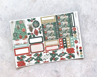 Holly - ONE PAGE Weekly Sticker Add On Kit, Christmas Weekly Sticker Kit for Standard Vertical Planners